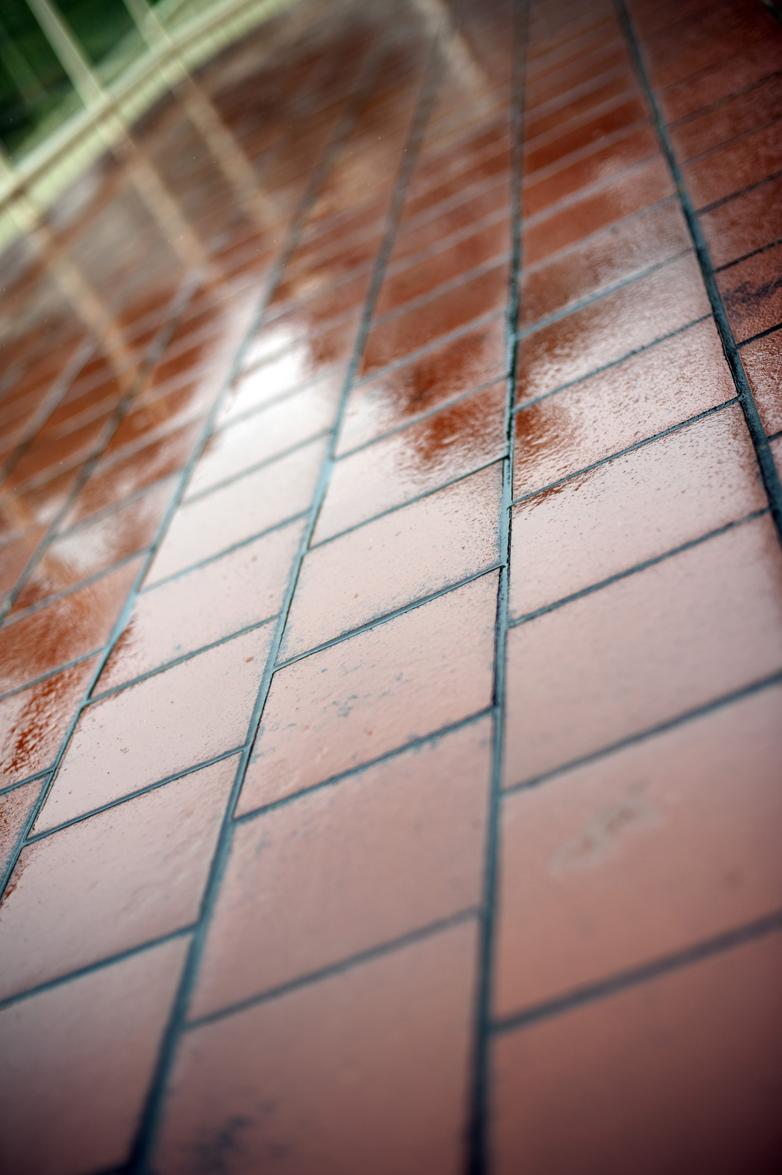 Wet red terracotta tiles outdoors on a rainy day viewed at an angle with reflections