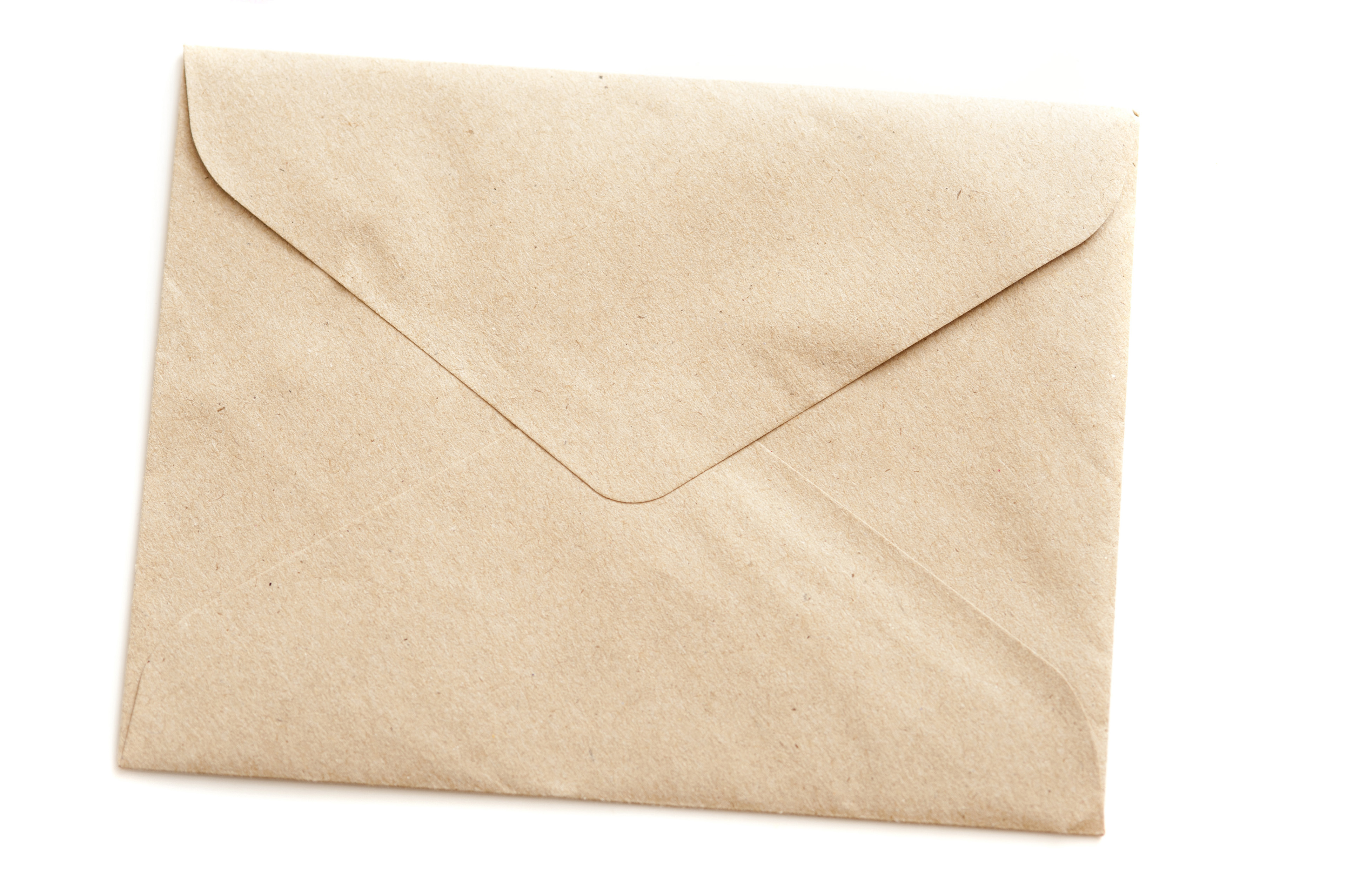 Close up Closed Brown Envelope for Documents Isolated on a White Background