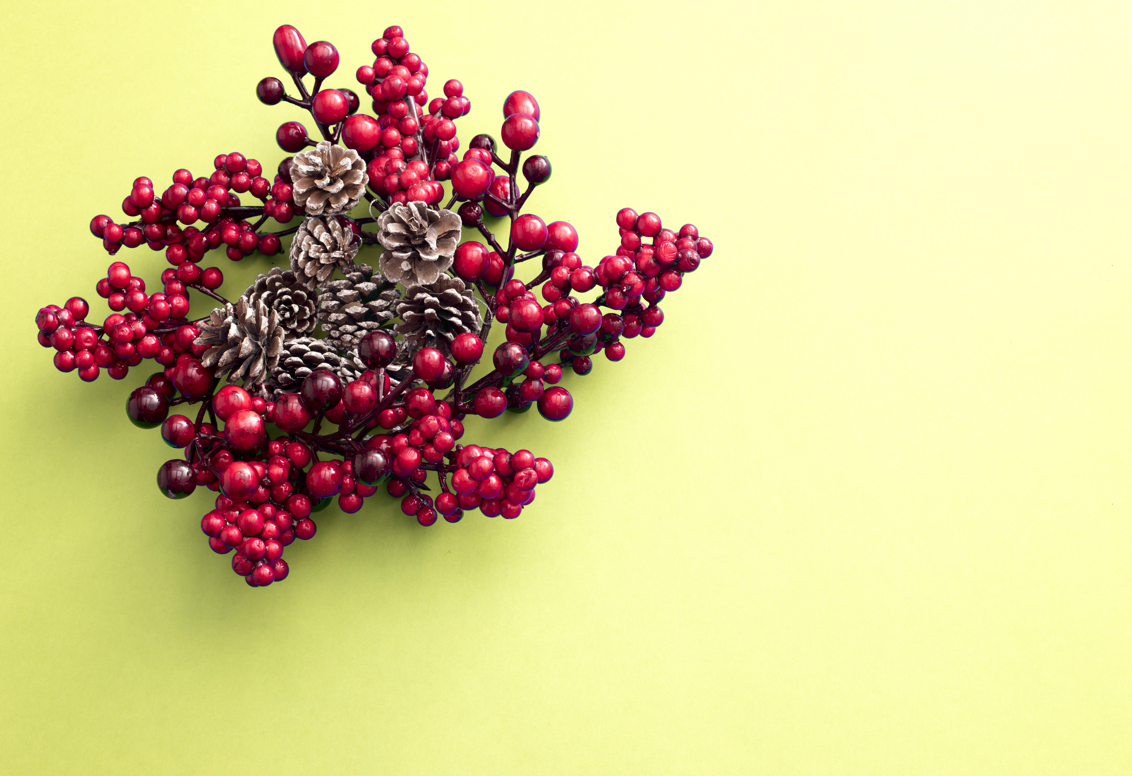 A decorative red Christmas berry wreath with frosted pine cones isolated on a plain yellow background with copy space.