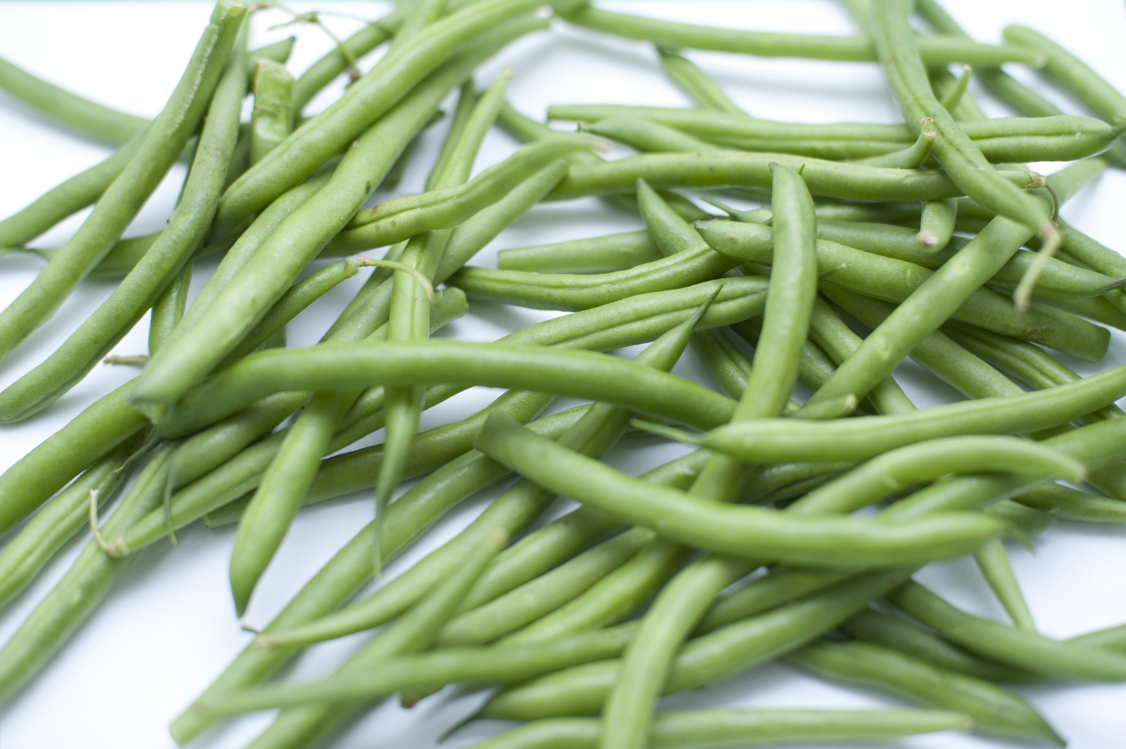 Assortment of Fresh Picked Green Snap Beans from Garden on White Background