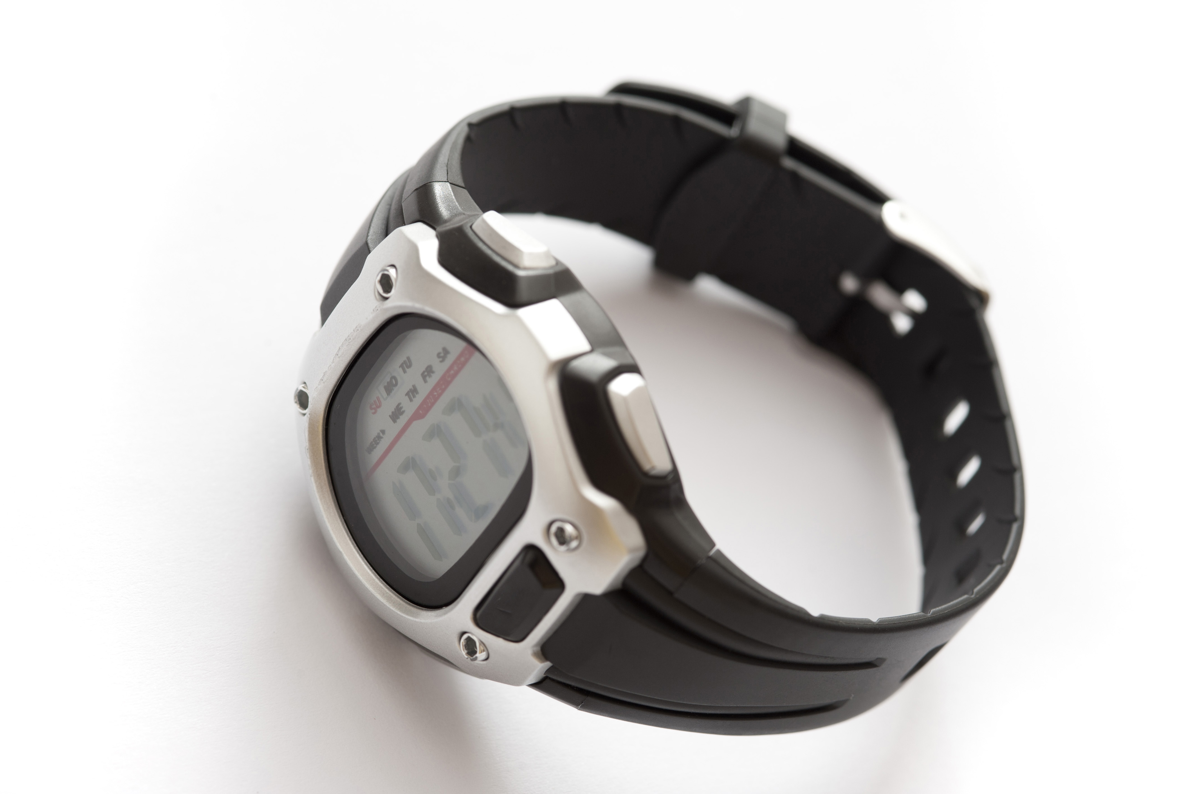 Close up Digital Black and Gray Unisex Sports Wristwatch Isolated on White Background