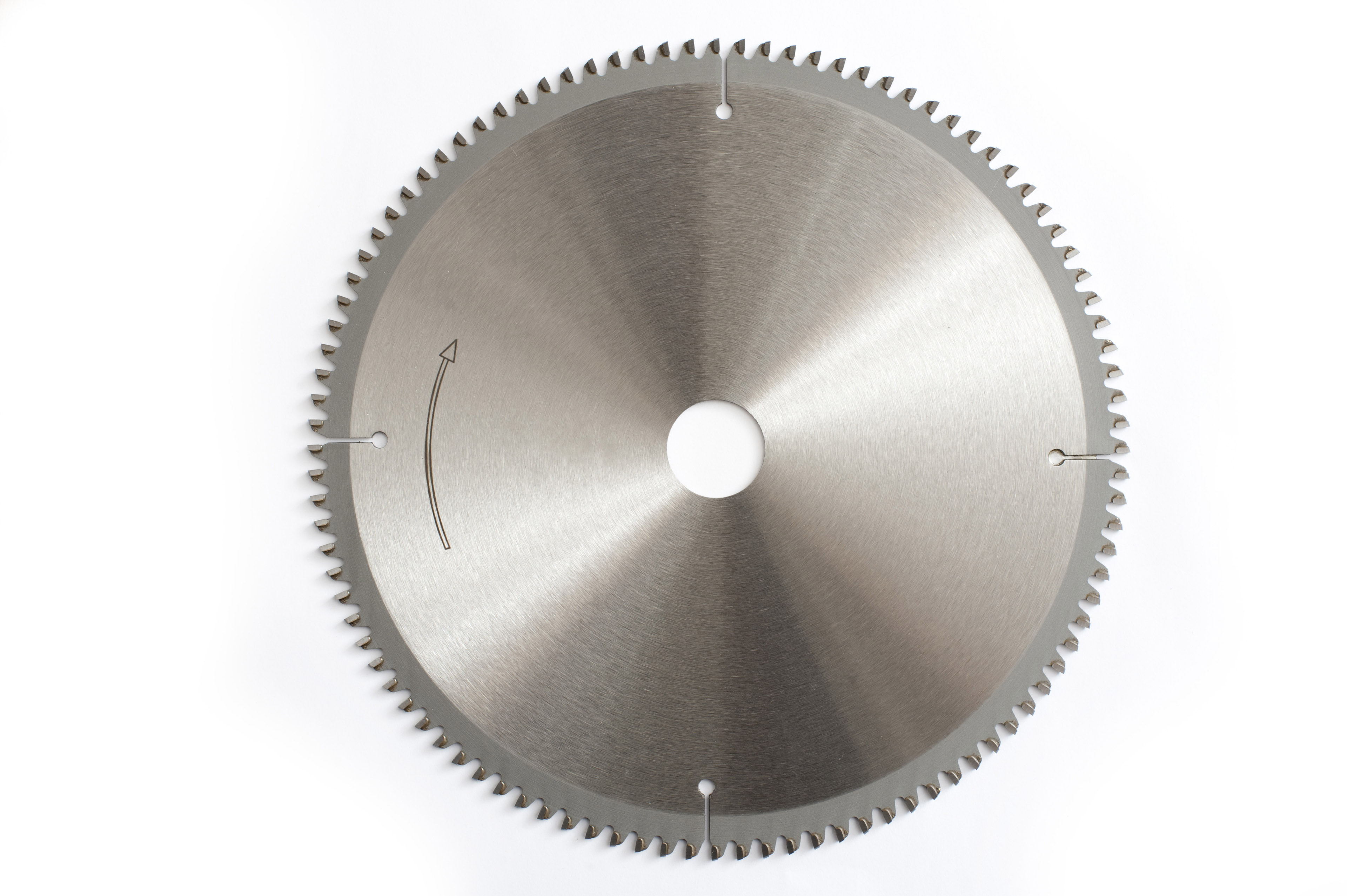 A metallic metal circular saw wheel blade isolated on a plain white background.