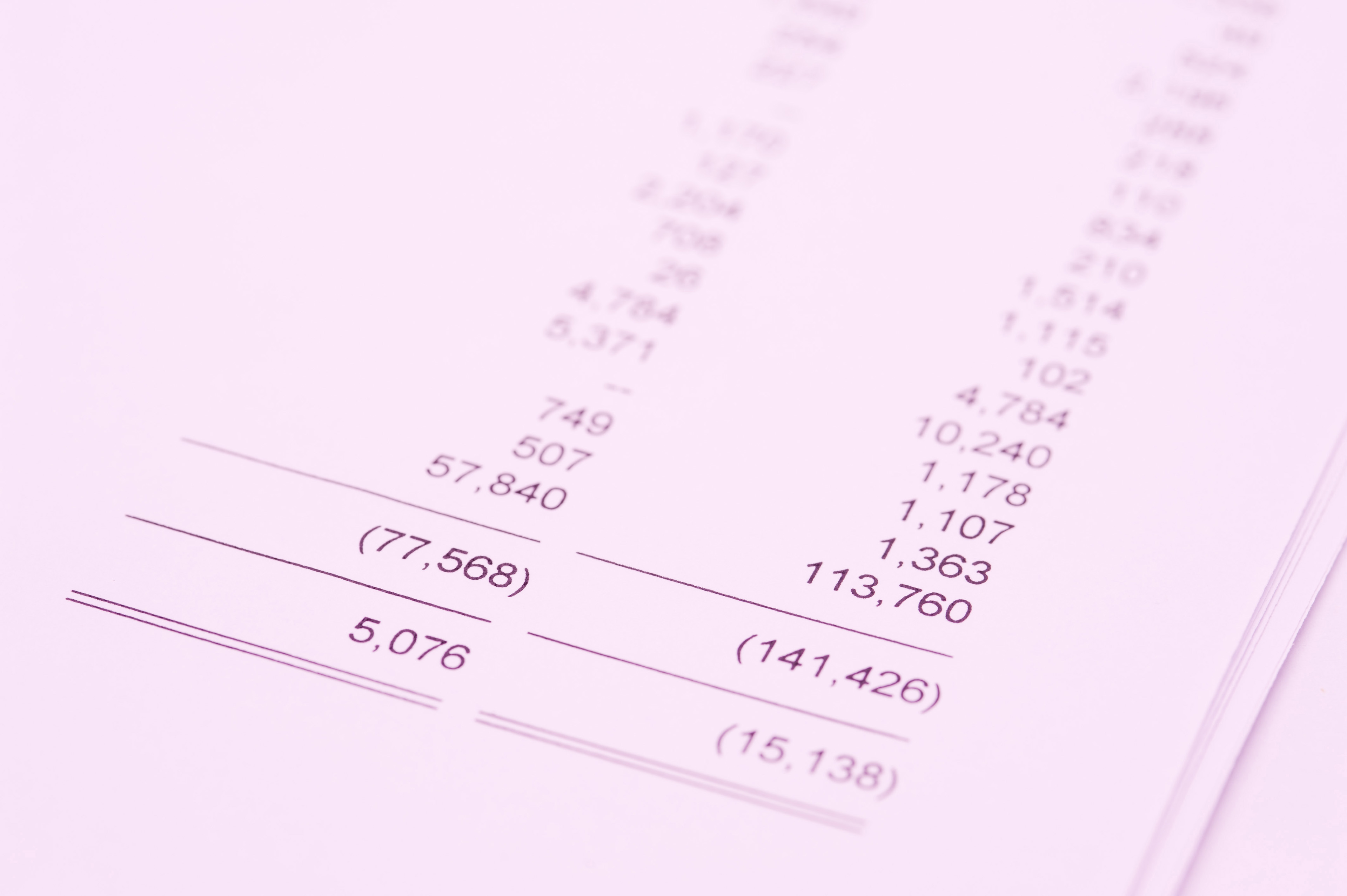 Annual bookkeeping concept with a close up view of the balance sheet totals showing income and expenditure and write downs