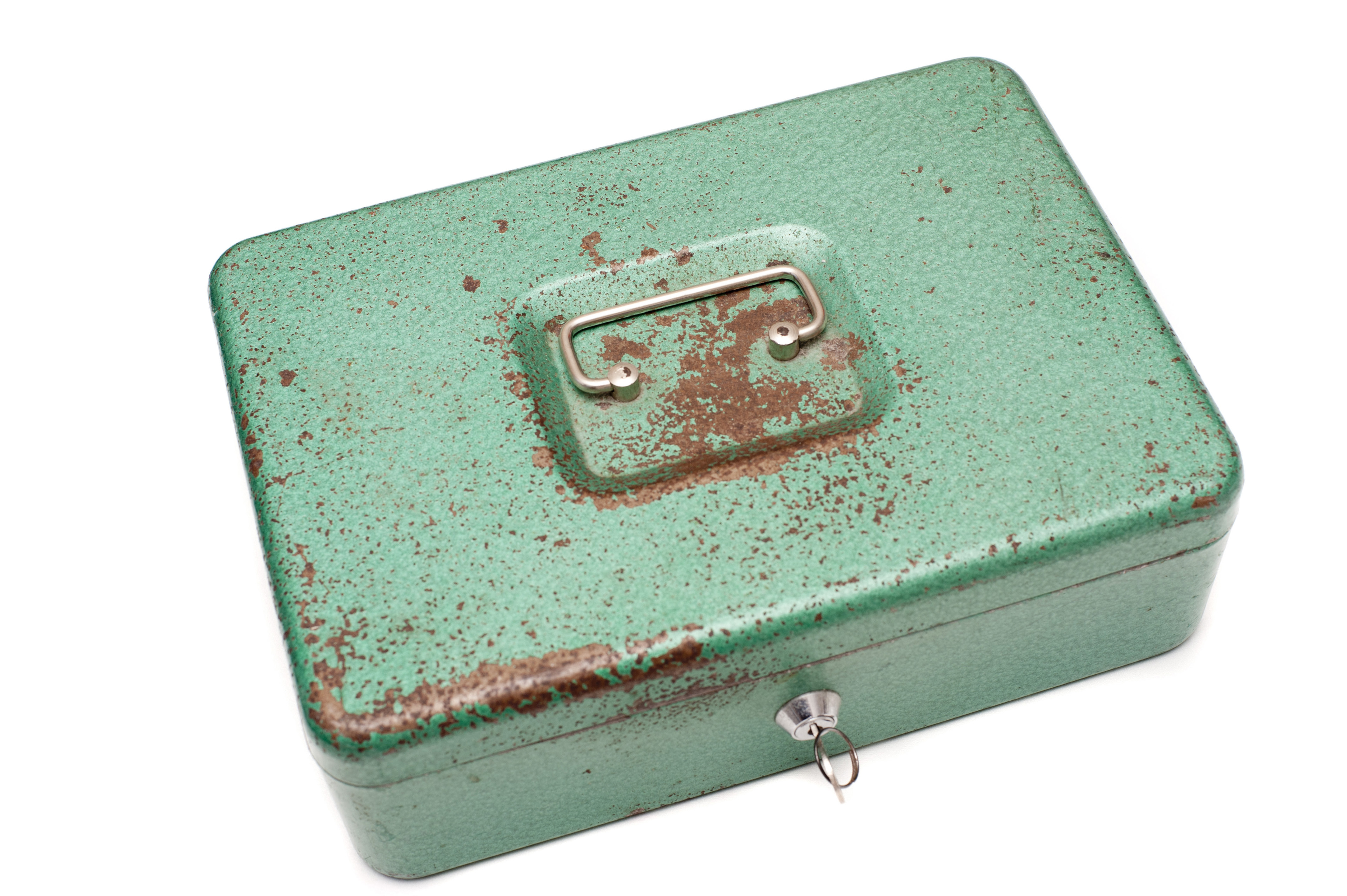 Close up Closed Old Metal Green Cash Box with Key Isolated on White Background