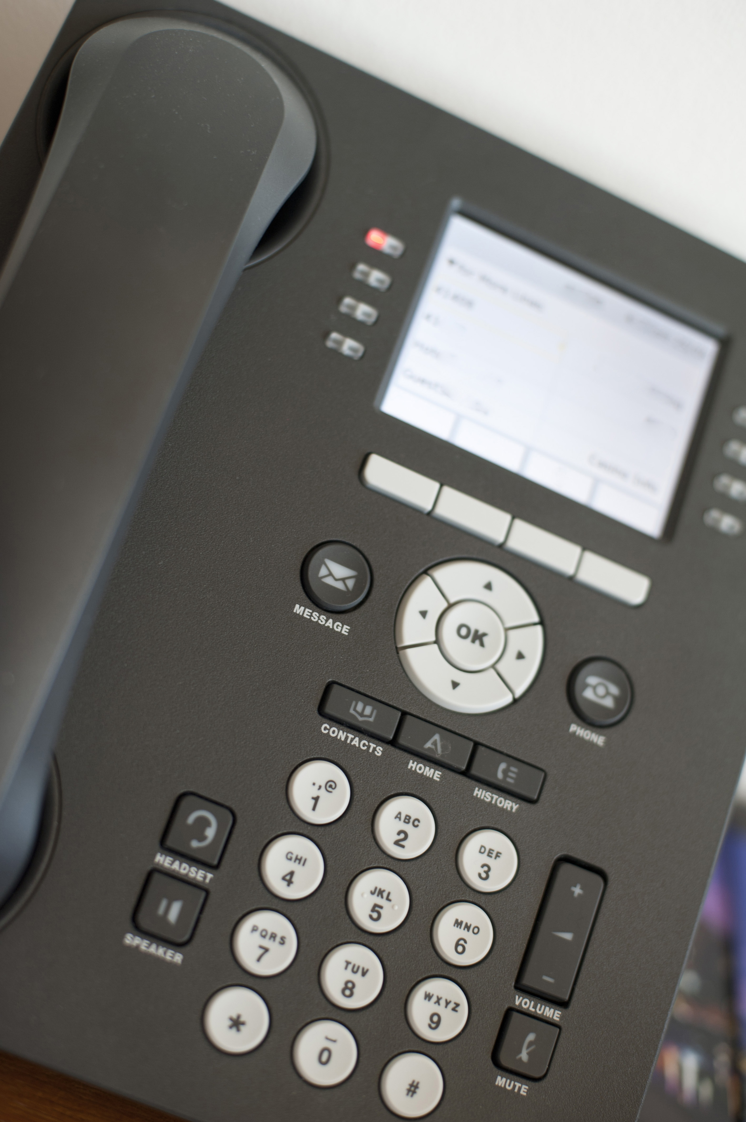 Close up Shot of Conceptual Black Office Telephone on Top of the Table