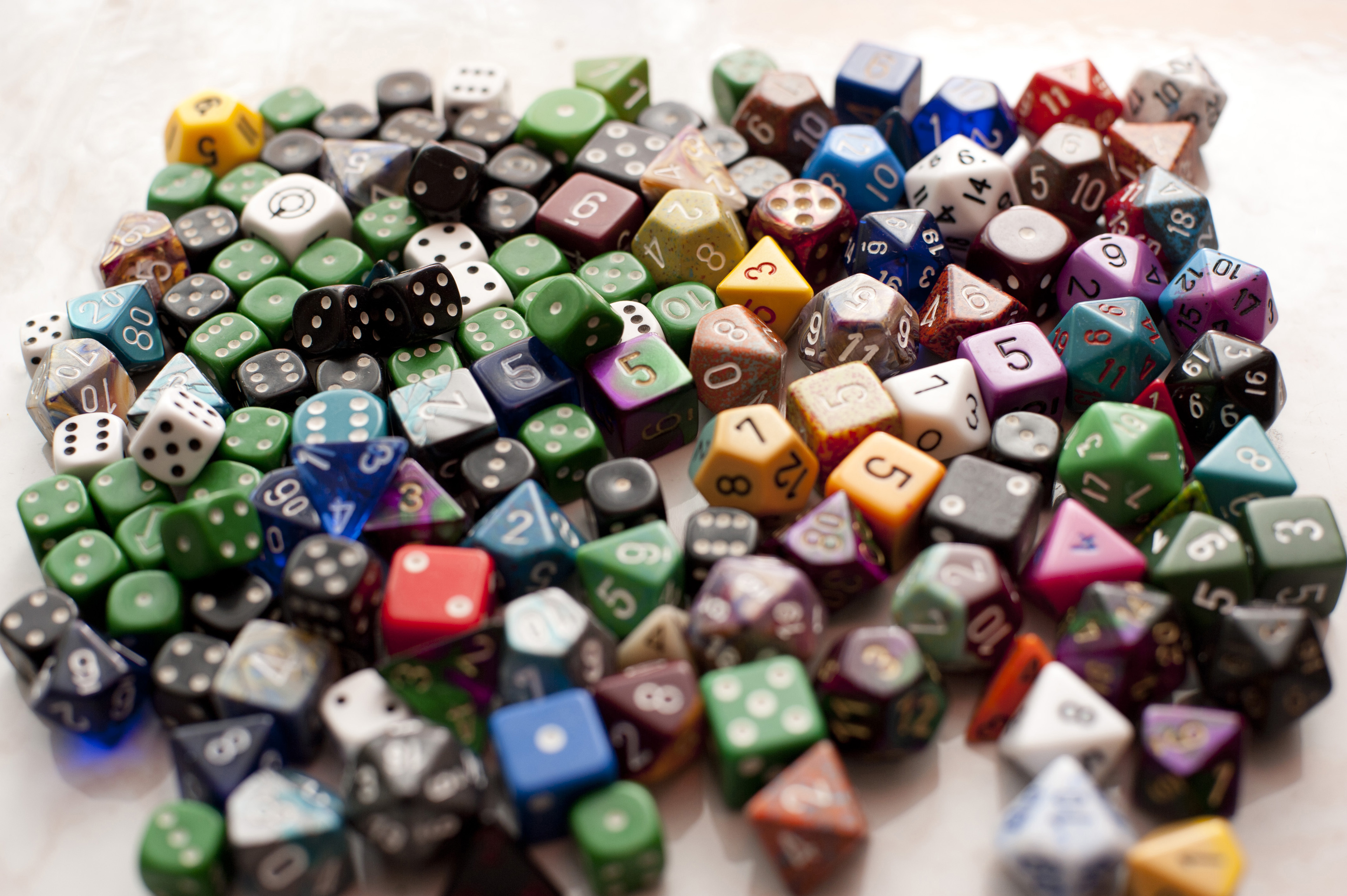 An assortments of colorful multi-sided gaming dice for role palying adventure games