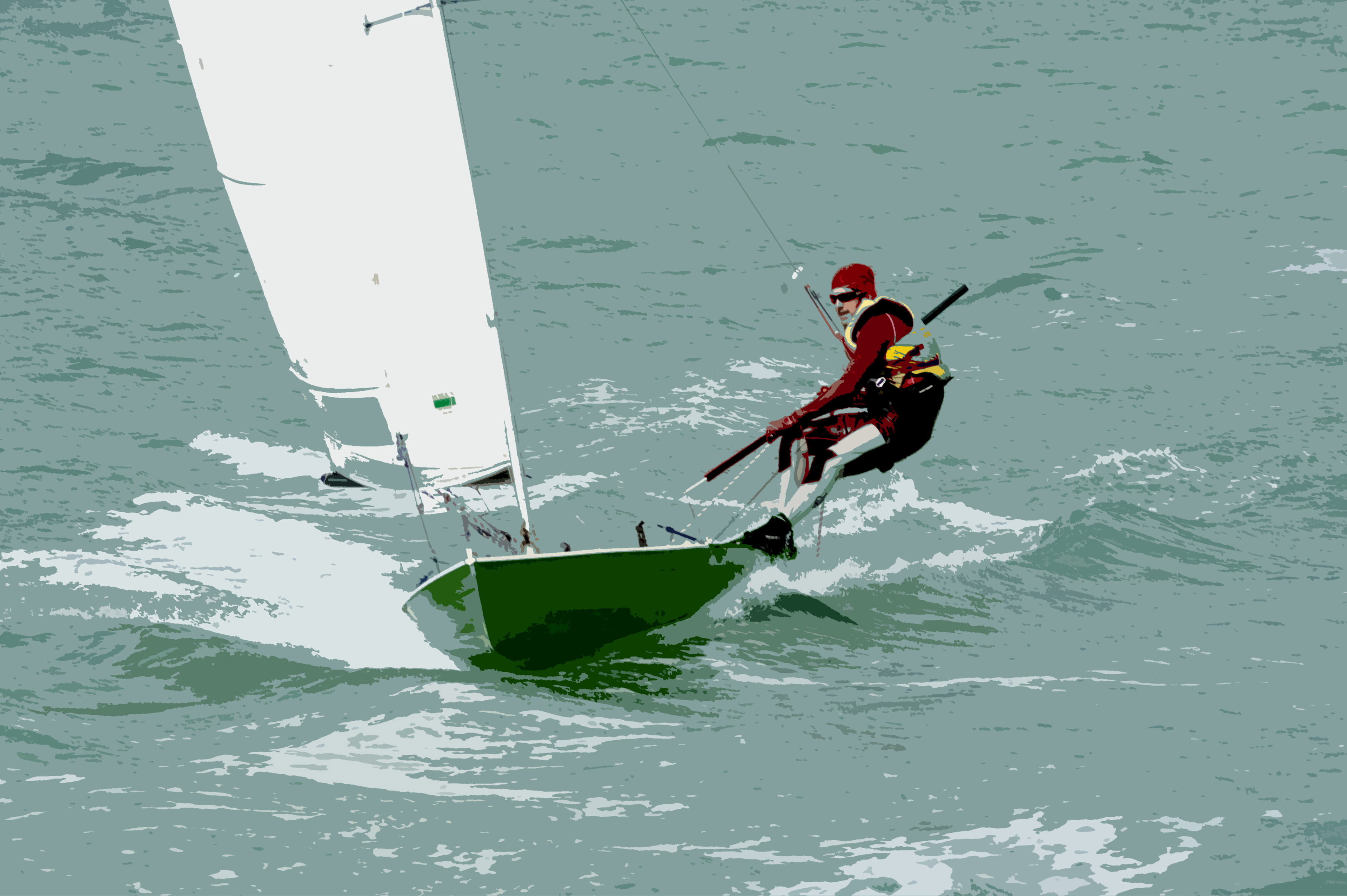 Man out sailing on a small sailboat using a trapeze to counterbalance his weight with the sail as he leans out over the ocean