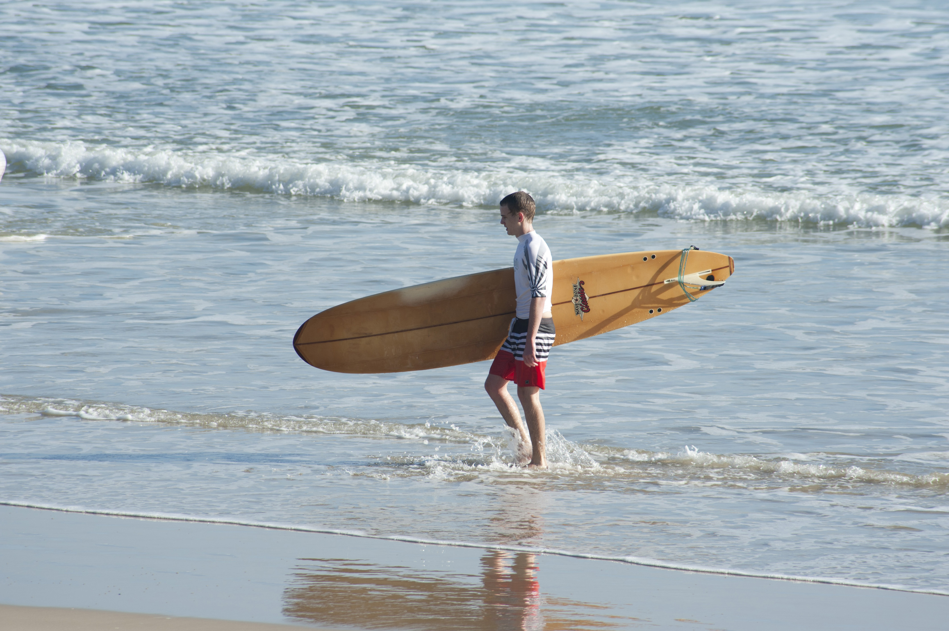 Surfer walking along the waters edge on the beach sand carrying his surfboard under his arm, side view on a sunny summer day