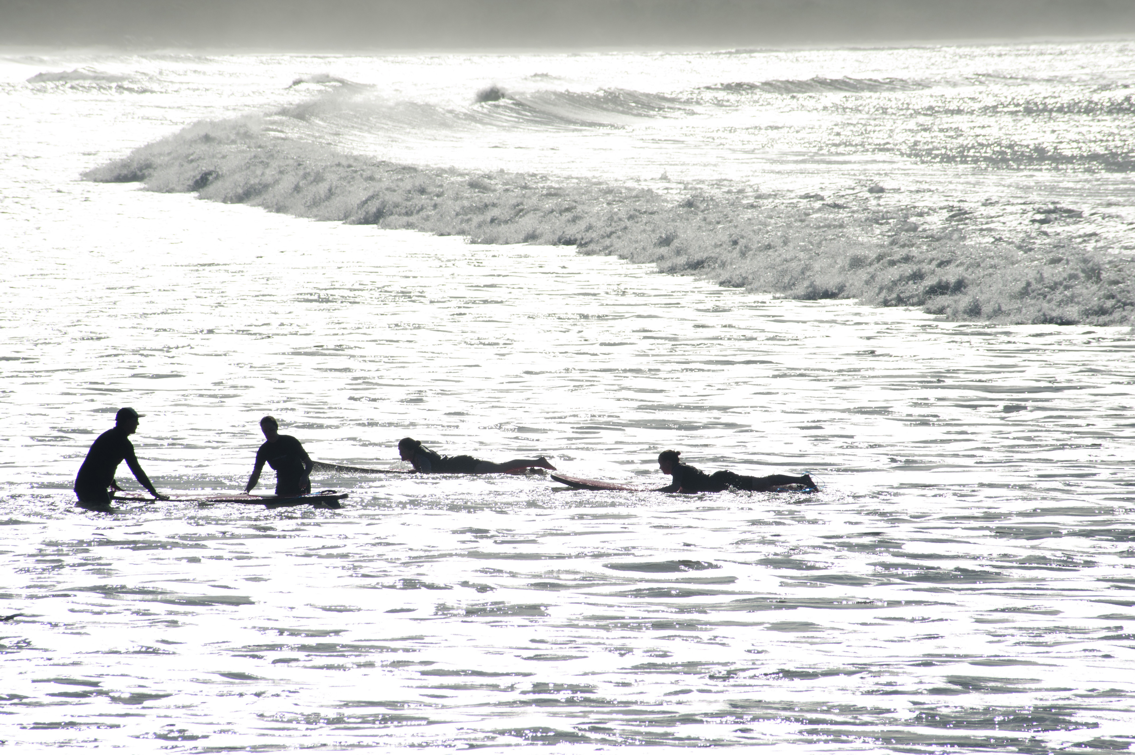Silhouettes of surfers on their surfboards waiting for a wave on sunlit water with two kneeling and two lying flat on their boards