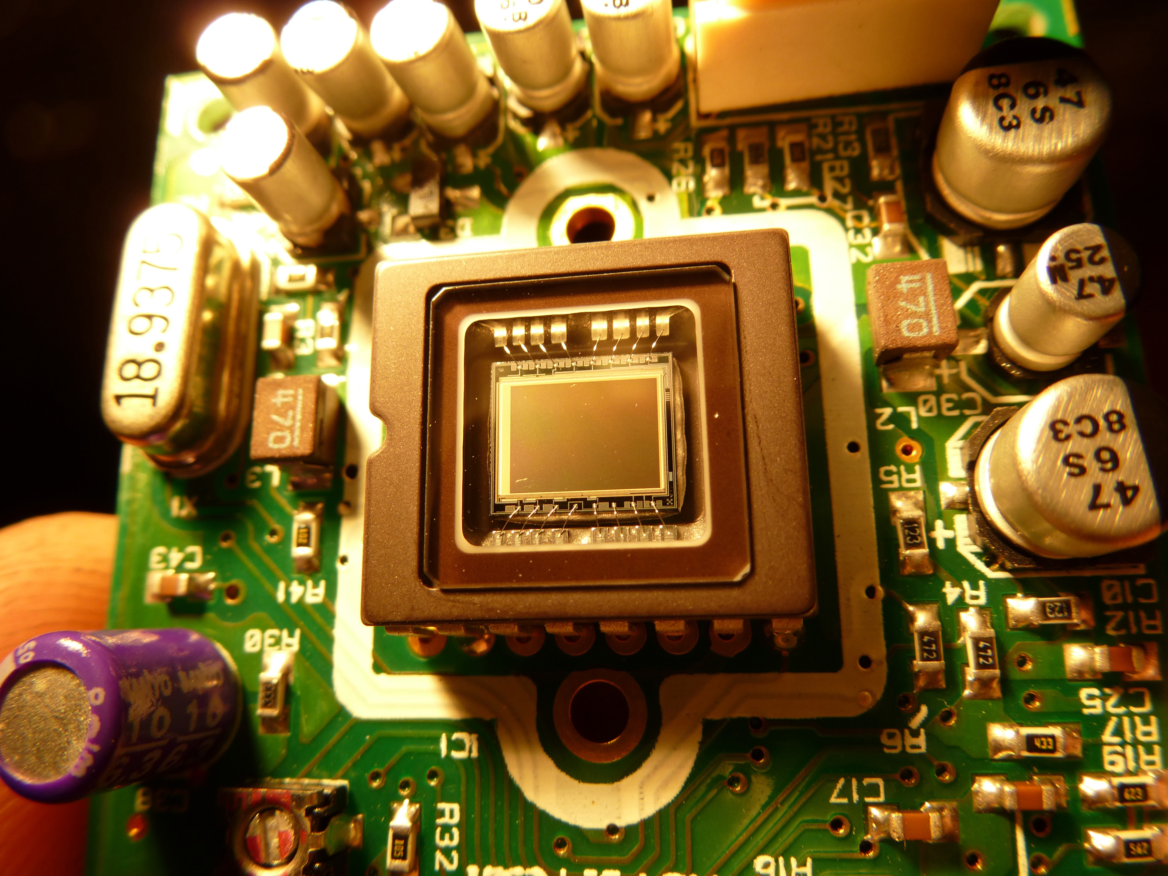 a digital video camera sensor chip and surrounding electronic components