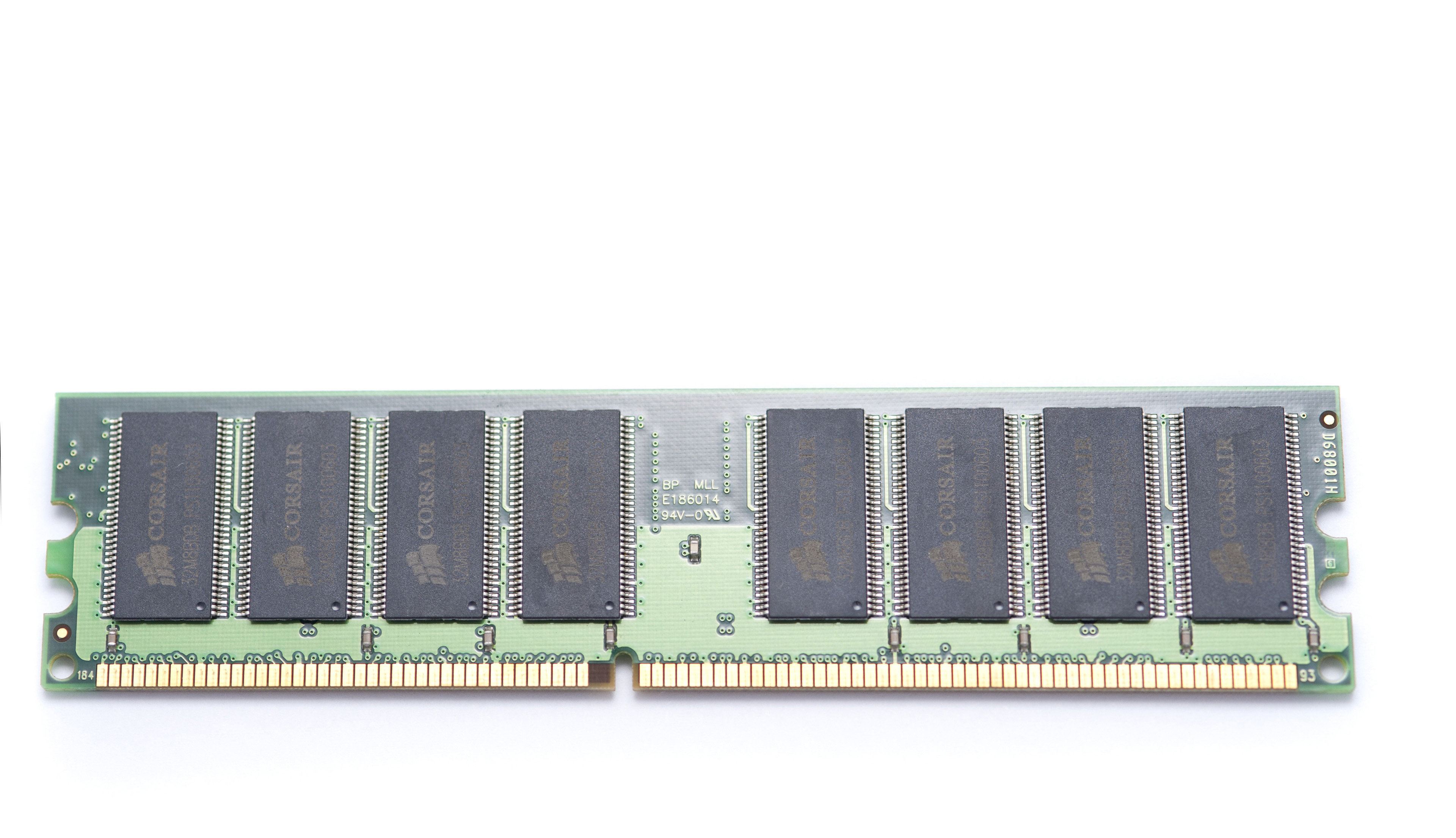 Random Access Memory - Close up Computer Primary Memory Stick Isolated on White Background.
