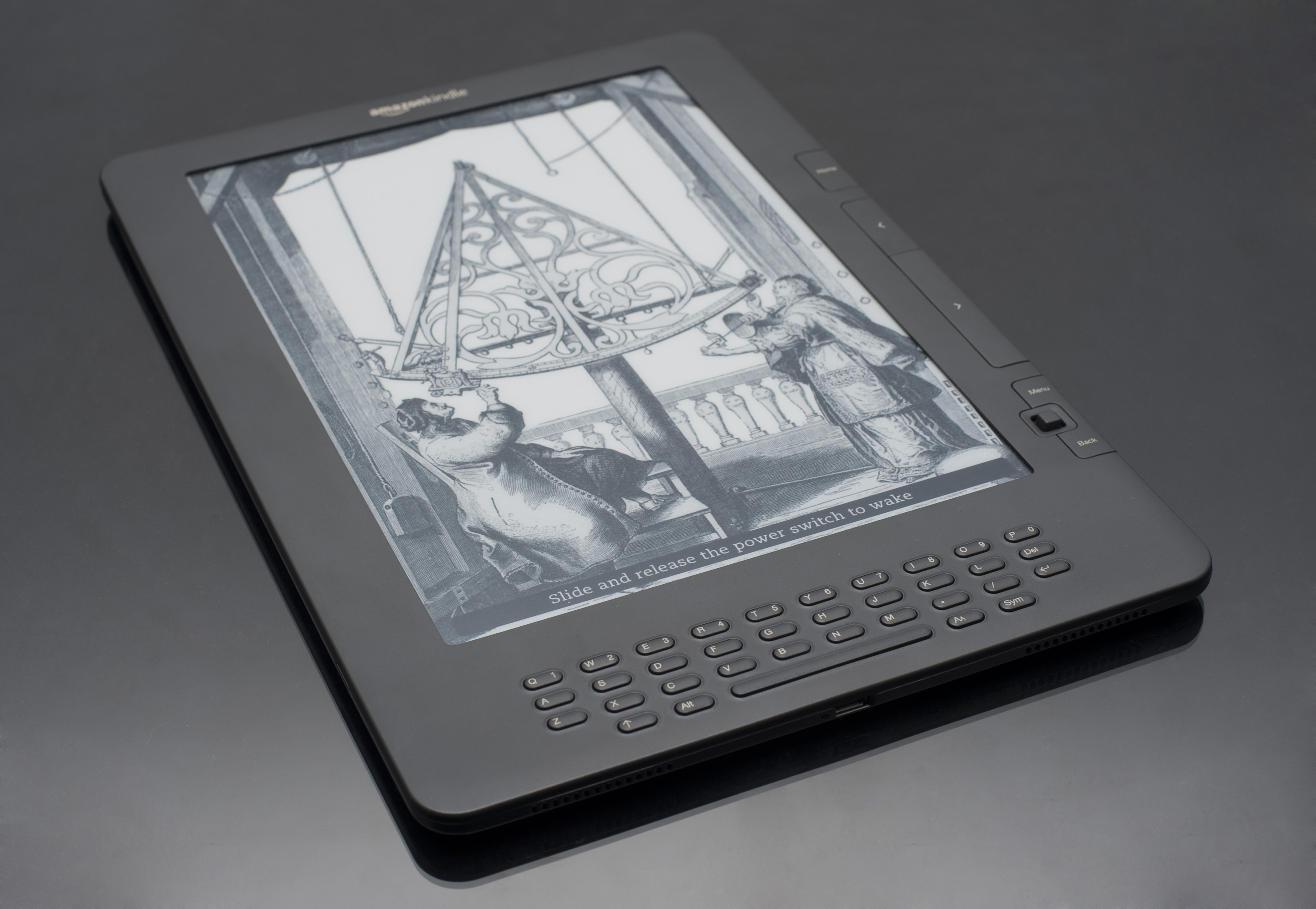 Illustration on Screen of E Ink Electronic Book Reader, Still Life on Grey Background