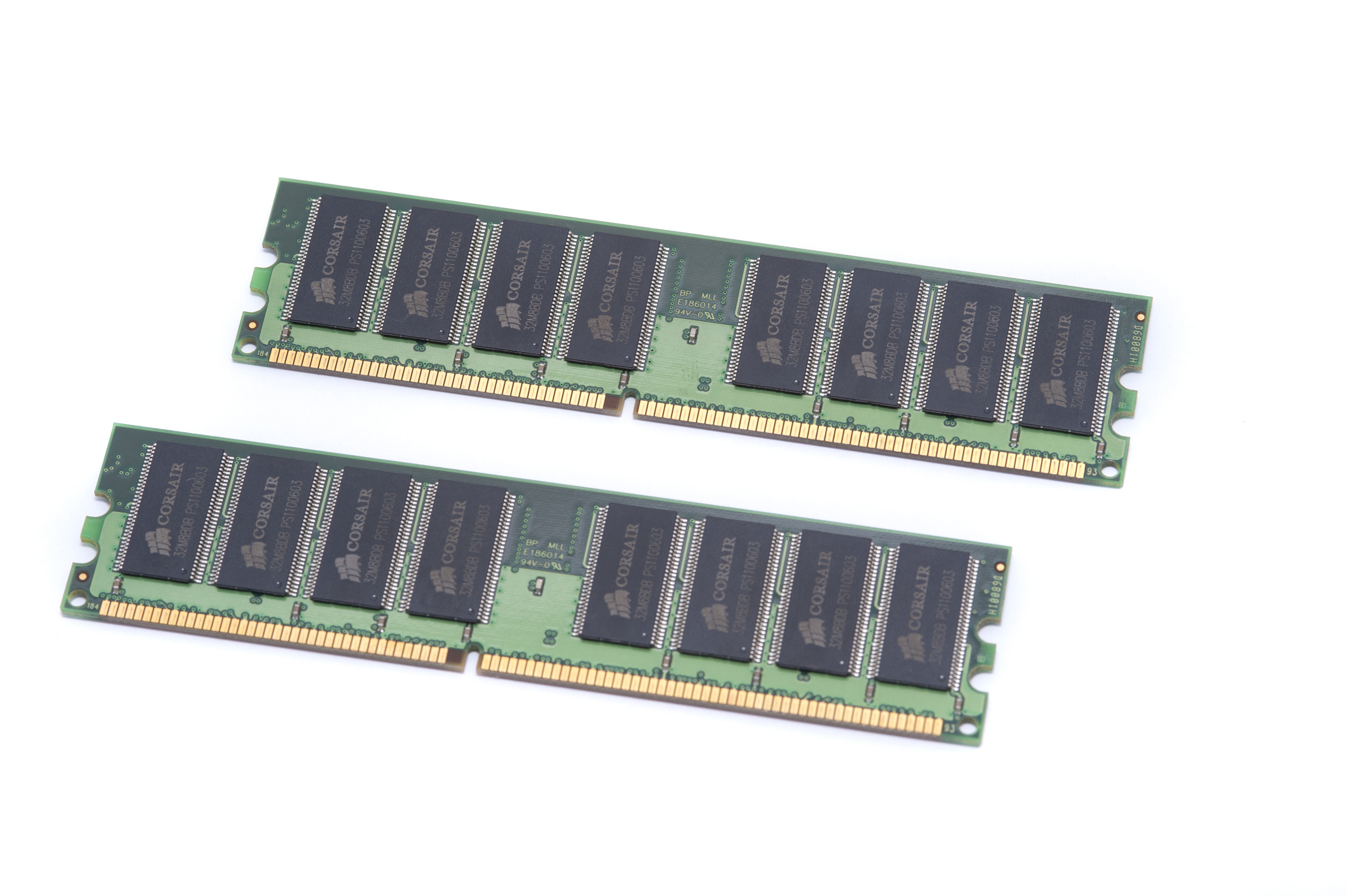 Two RAM Memory Modules with Memory Cells on White Background, Computer Data Storage Technolody on White Background