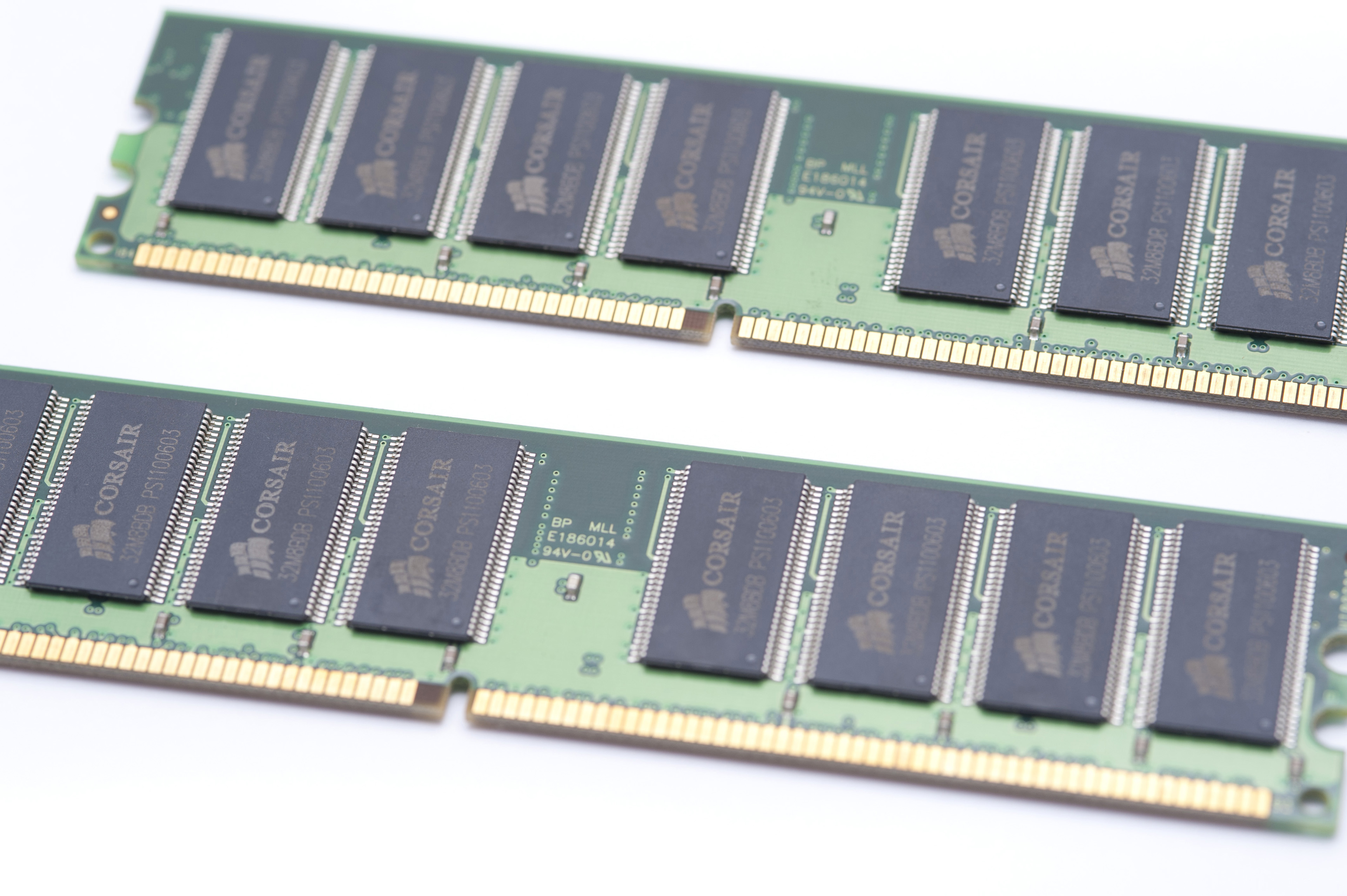 Two Bars of Memory Chips on White Background, Computer Technology RAM