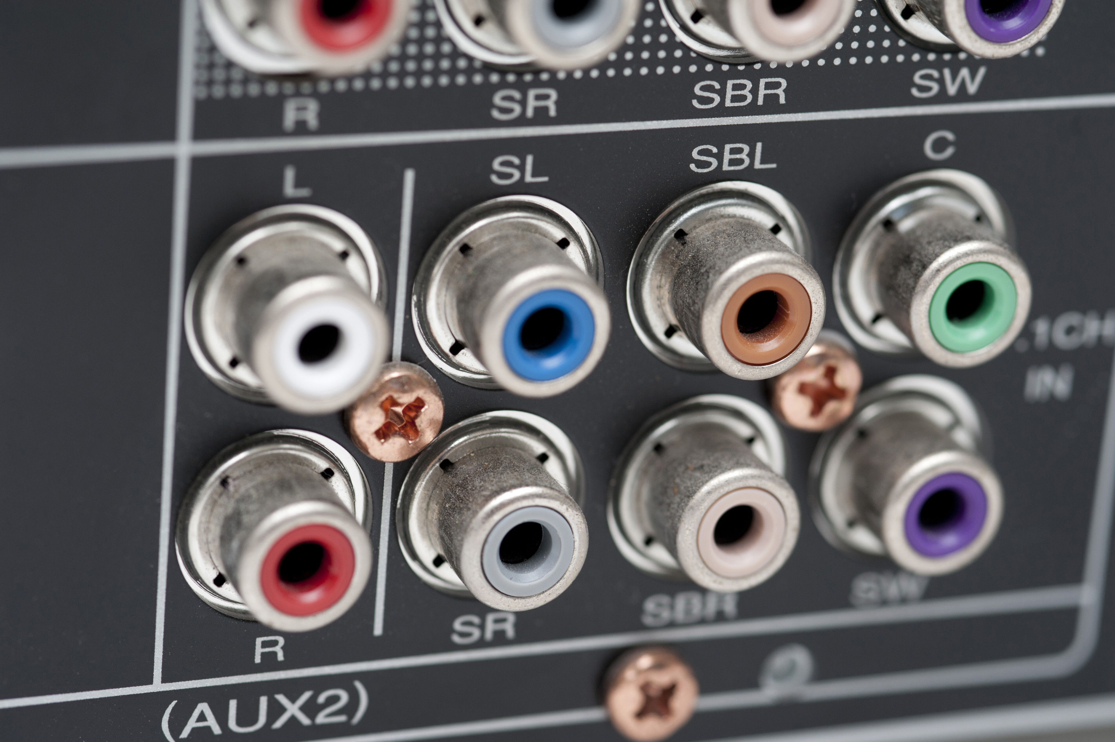 Phono audio connectors on the back of a Surround Sound Amplifier