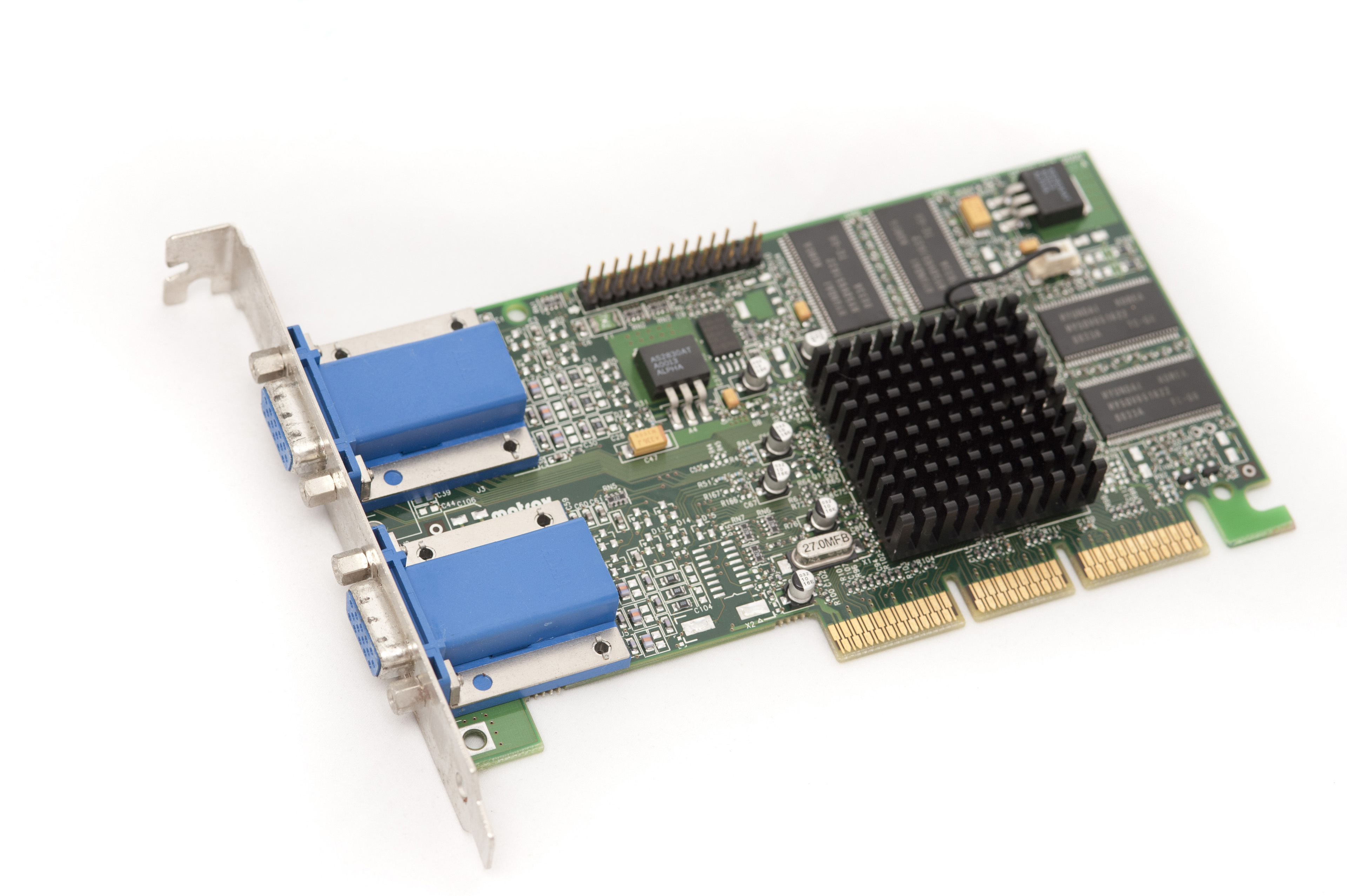 A dual display VGA conector video card from multiple monitor computer systems