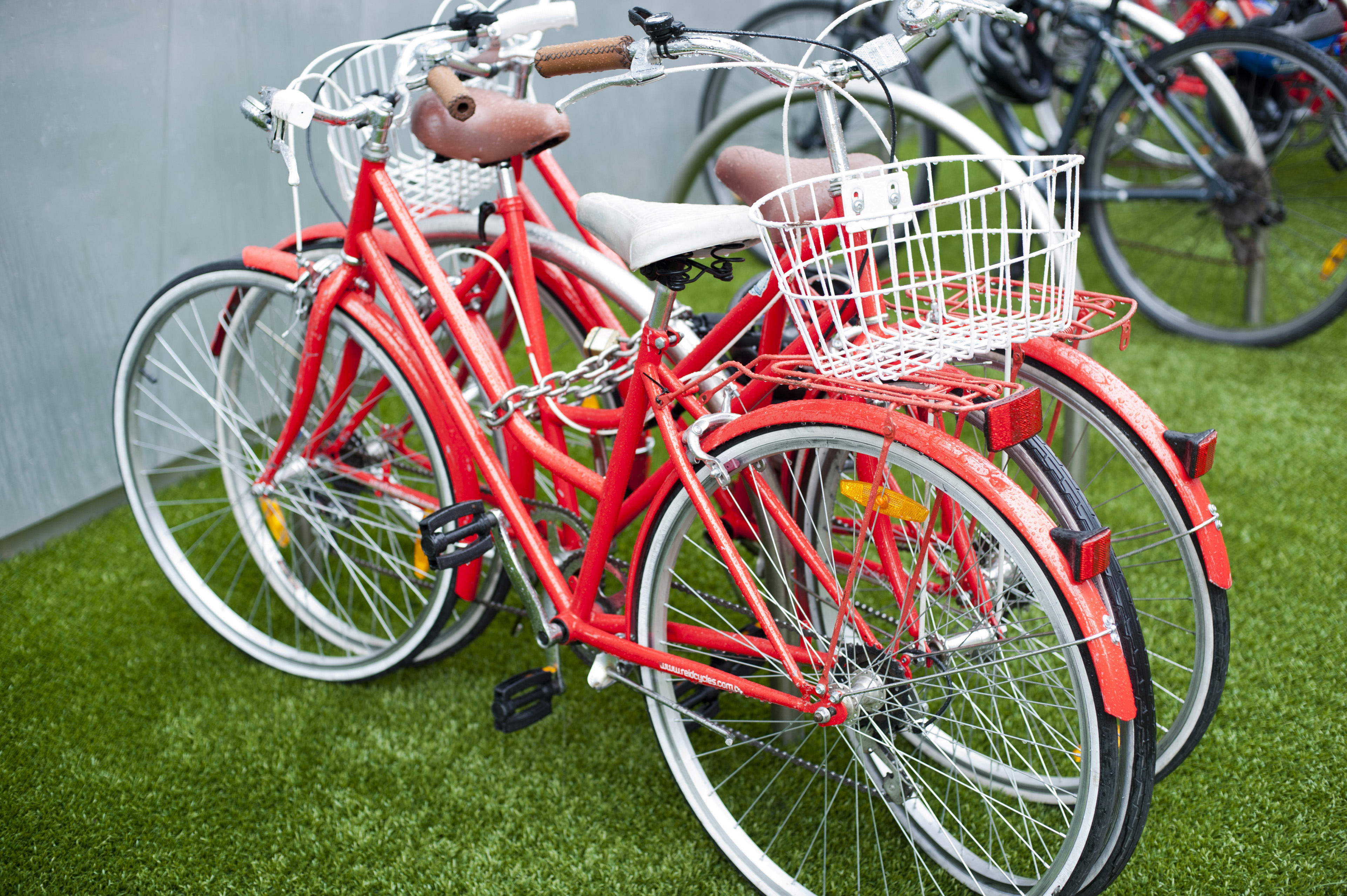 Pair of Red Bicycles with White Baskets Chained Up Side by Side on Green Astroturf