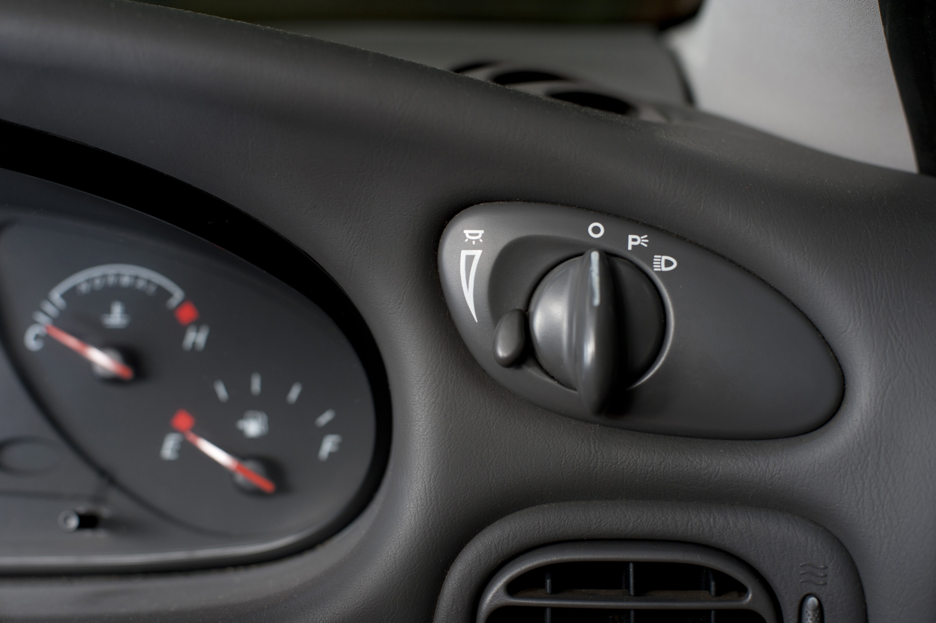 Car dashboard with focus to the control for the park and head lights and bright-dimmer switch