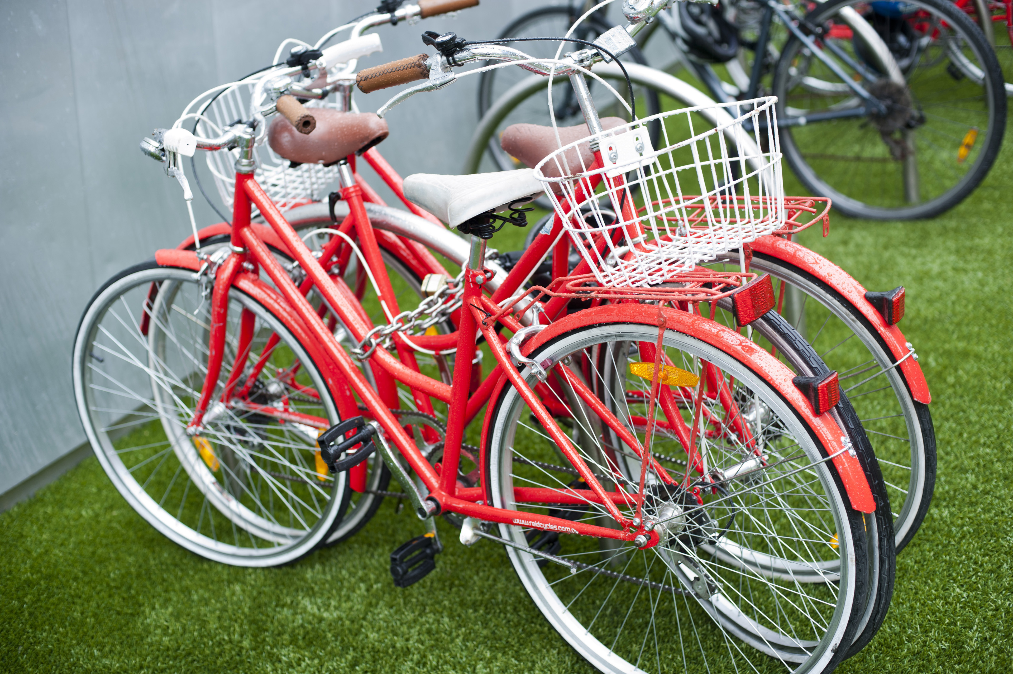 Two red bicycles parked on the green lawn outside a building conceptual of exercise, fitness and health