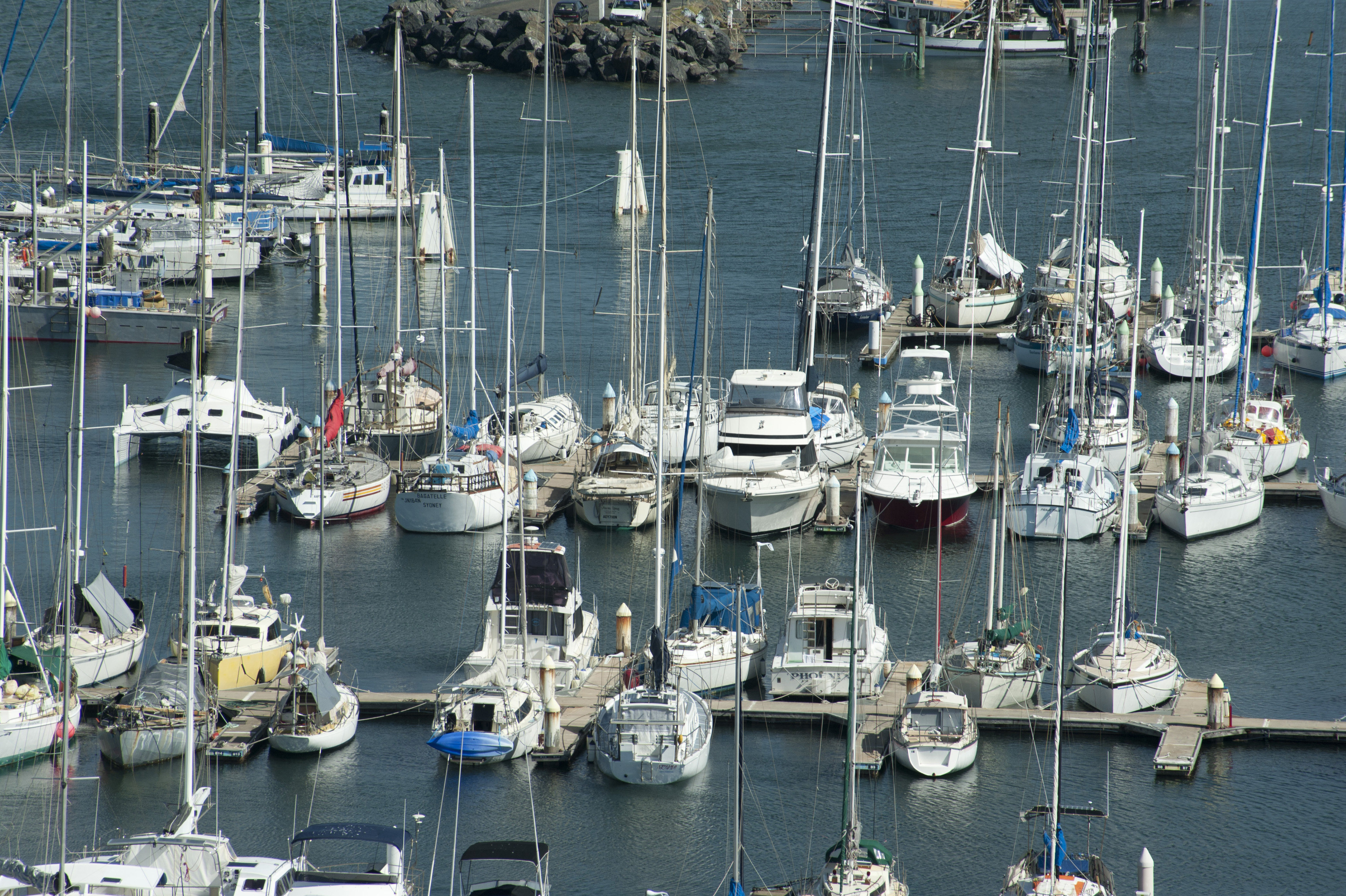 Overview of Many Sailboat Yachts Anchored Along Docks in Marina