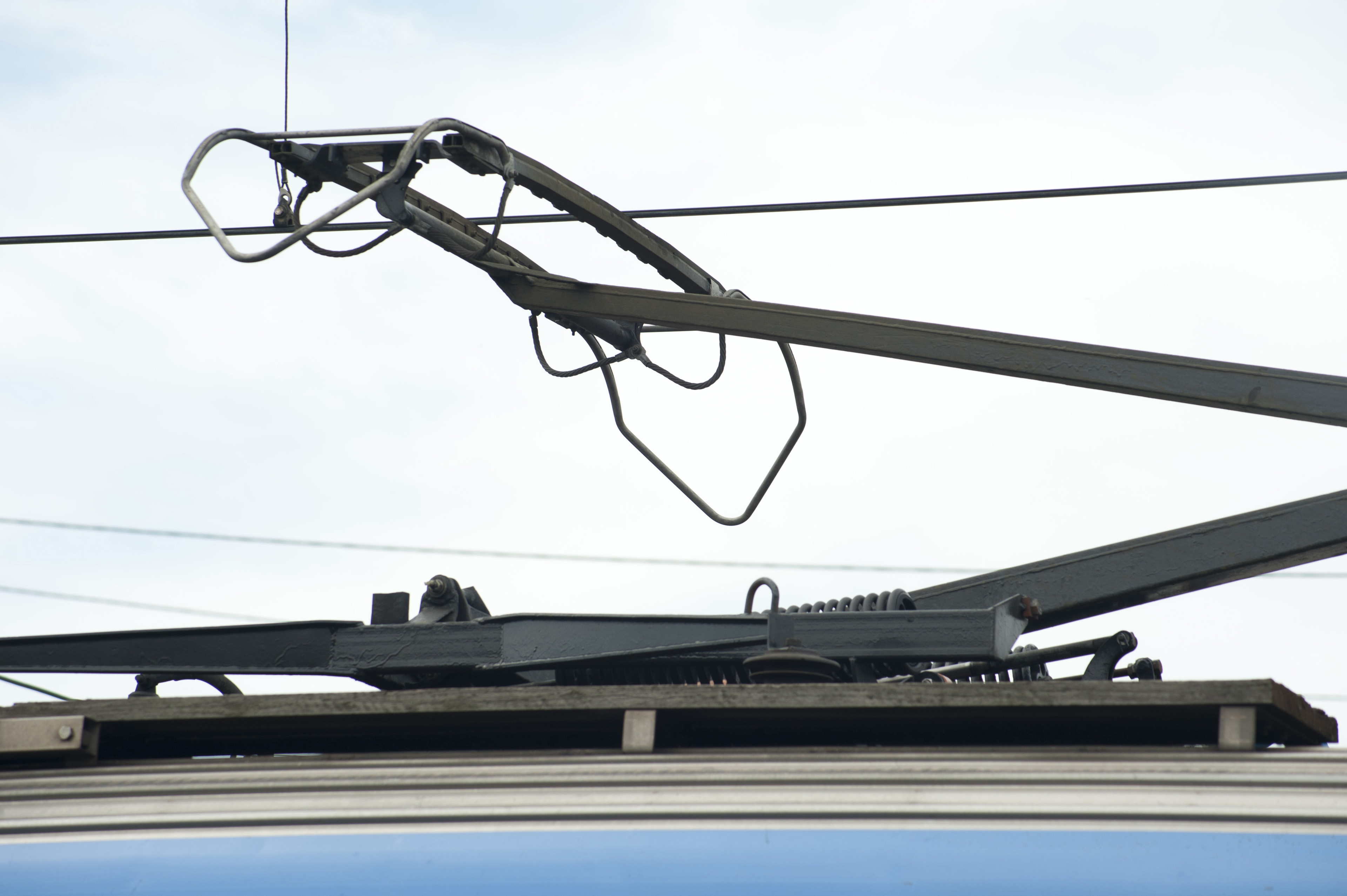 Pantograph on top of on electric train or light rail