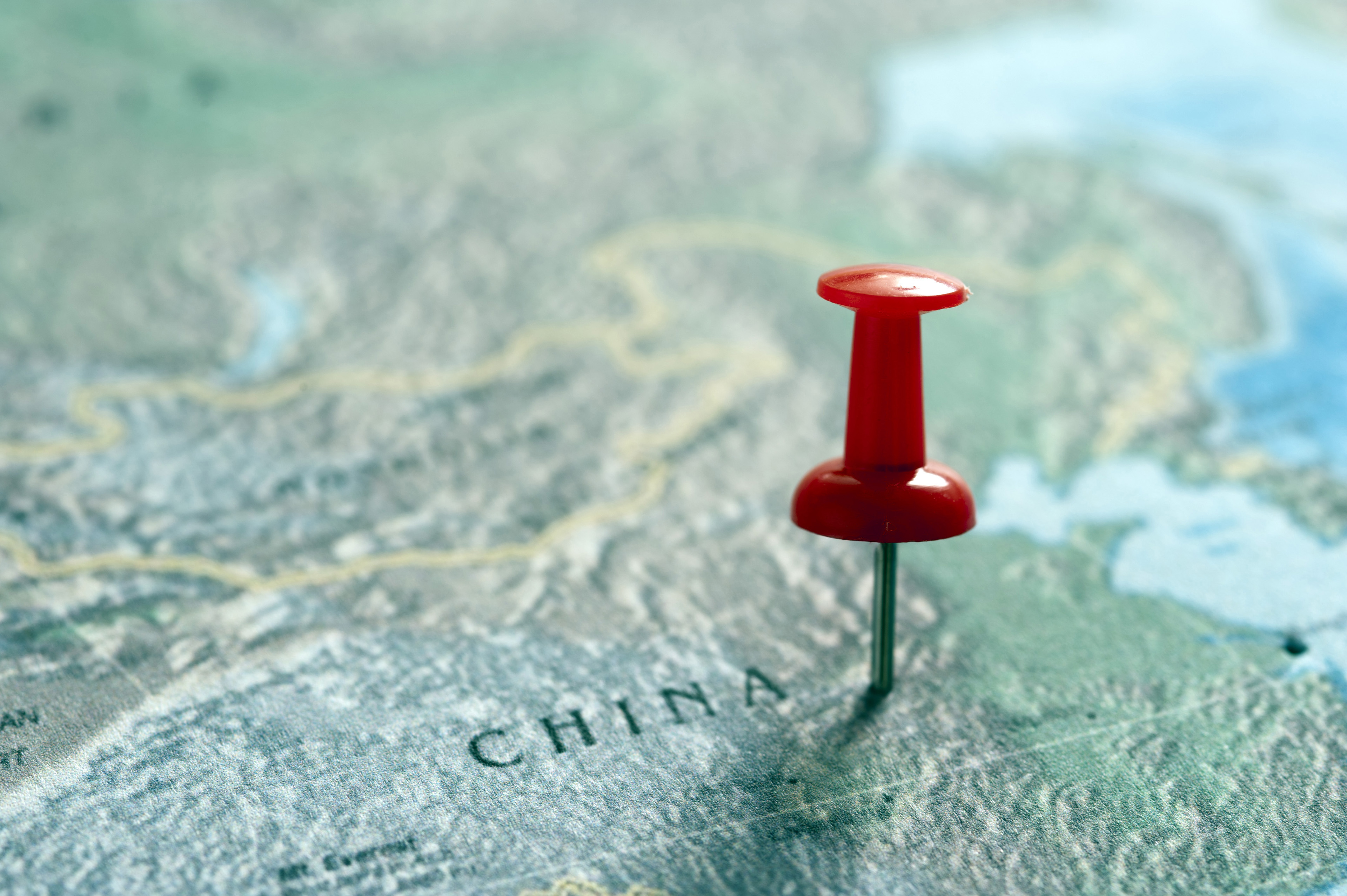 Image of Red Thumb Tack Marking Location in Map of China – Travel Map Marker