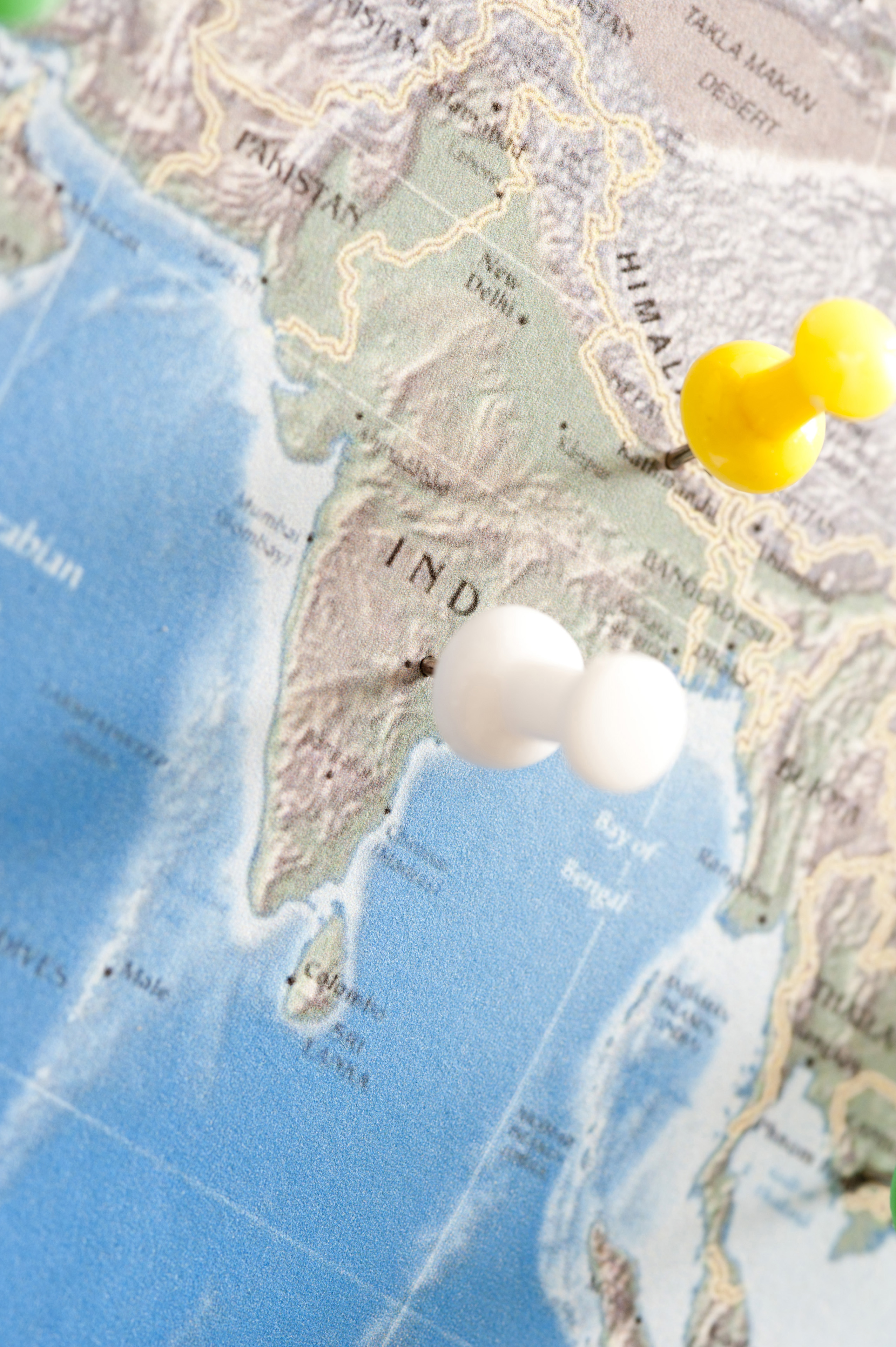 Close Up of Colorful Pins Inserted into Various Locations and Destinations in India, Travel Planning Concept Image