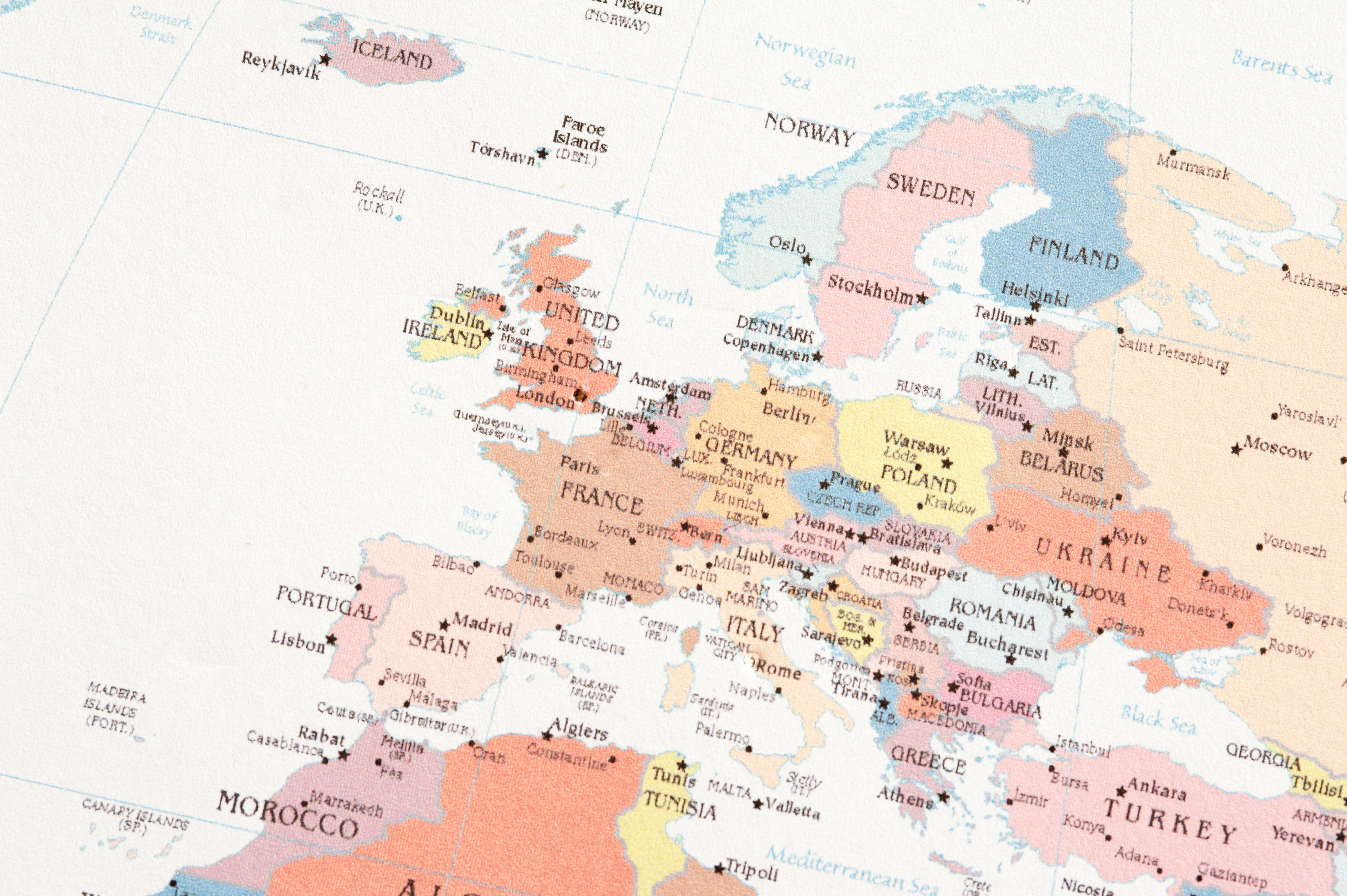 Close up Shot of Conceptual European Map with Labels on White Paper