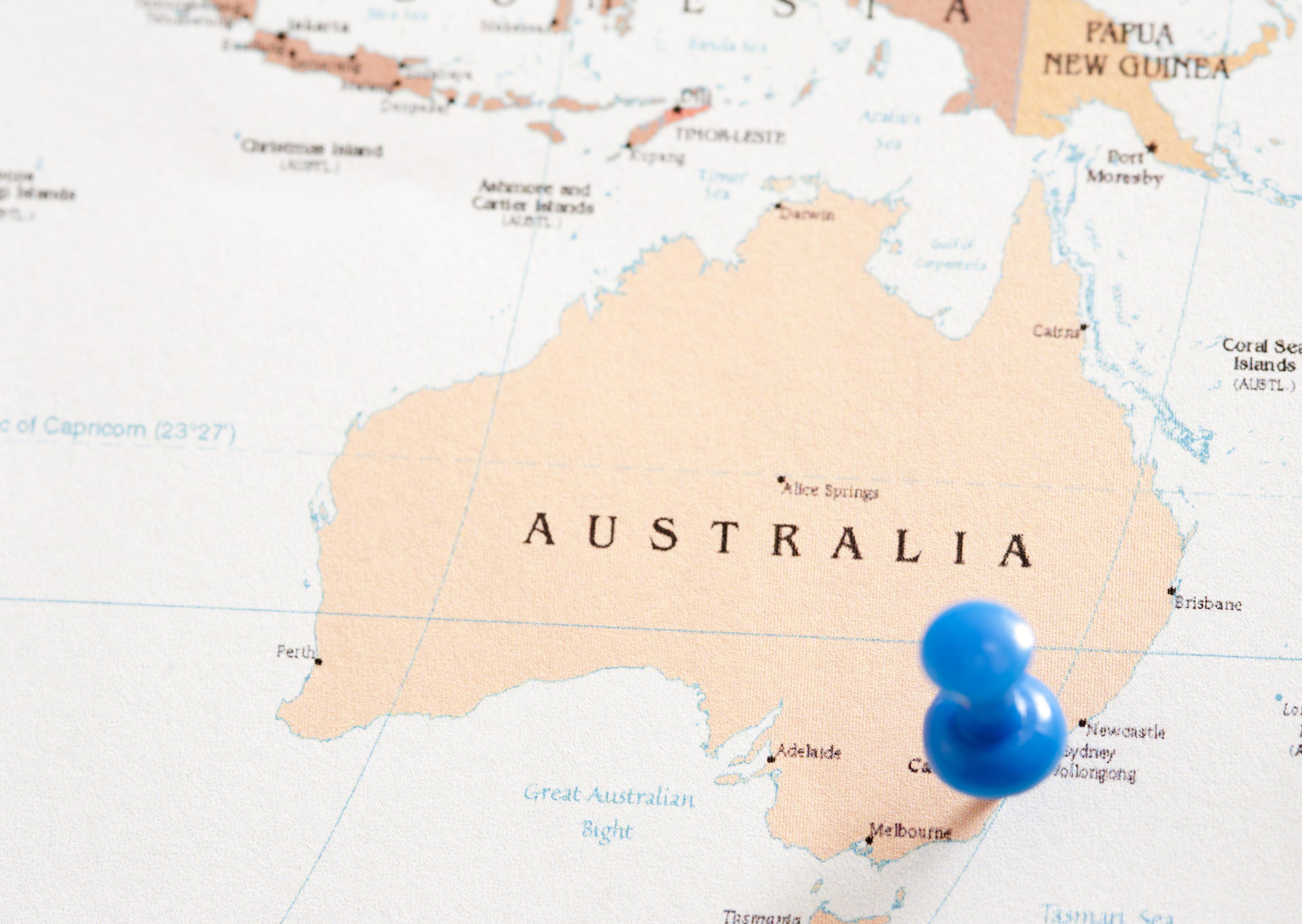 East Coast Map Of Australia.Image Of Pin Marking East Coast Location On Australian Map