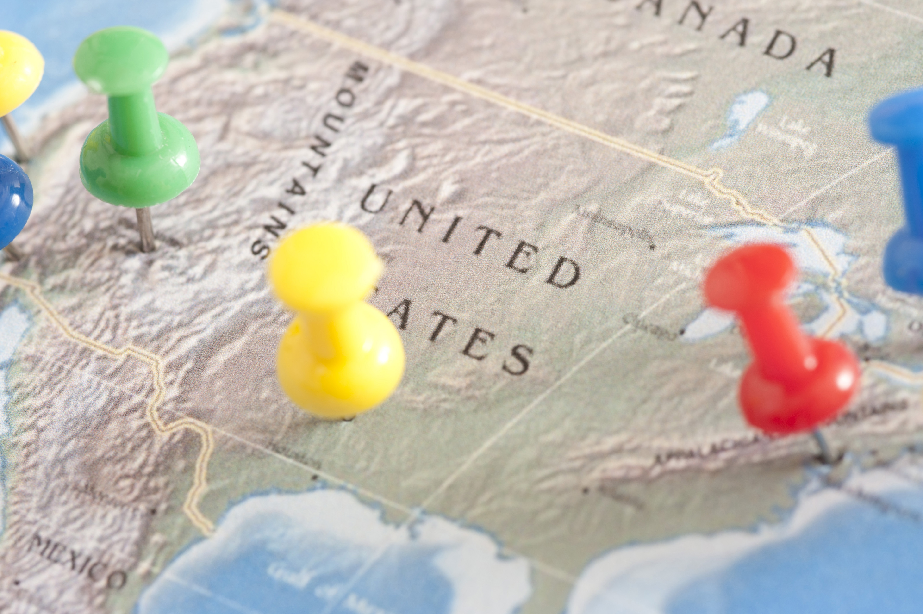 Image of US Travel Concept - Pins on United States Map ...